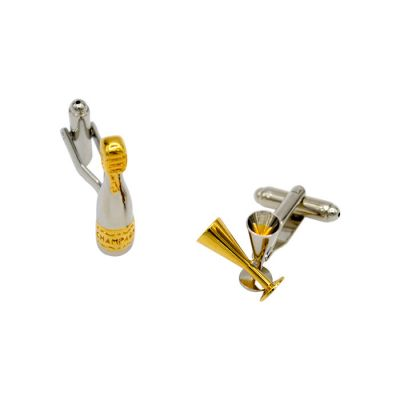 Gold Wine Bottle and Pot Silver Cufflinks