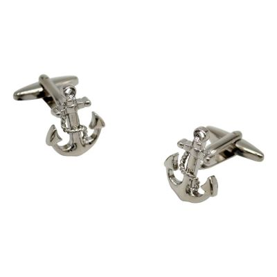 Silver Soild Anchor Cufflinks