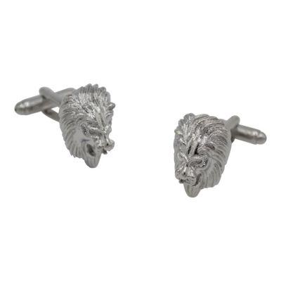 Silver Soild Lion Cufflinks