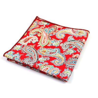 Valentine Red, Blue Eyes, Black, Moccasin, Midnight, School Bus Yellow and Hot Pink Cotton Paisley Pocket Square