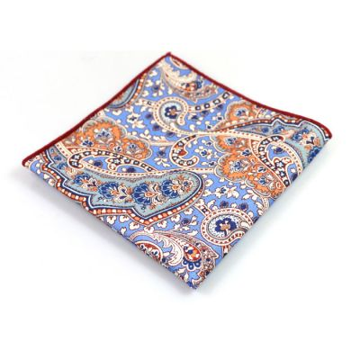 Platinum, Blue Jay, Blue Eyes, Champagne and Midnight Cotton Paisley Pocket Square
