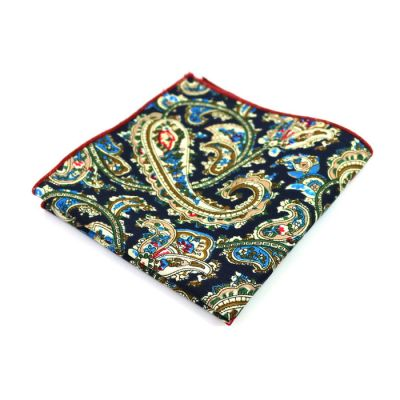 Midnight Blue, SeaShell, Midnight, Moccasin, Windows Blue and Champagne Cotton Paisley Pocket Square