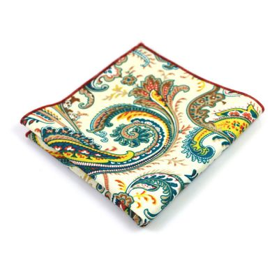 Sandy Brown, Saffron, Midnight, Blue Eyes and SeaShell Cotton Paisley Pocket Square