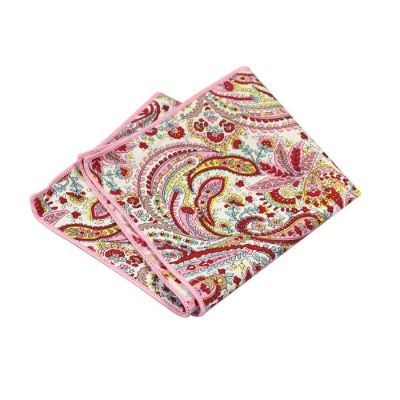 Hot Pink, Shocking Orange, Peach, Blush Pink, Platinum and Corn Yellow Cotton Paisley Pocket Square