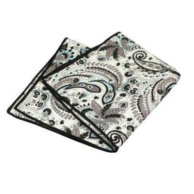 Black, Platinum, Vampire Gray and AliceBlue Cotton Paisley Pocket Square