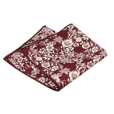 SeaShell and Burgundy Cotton Floral Pocket Square