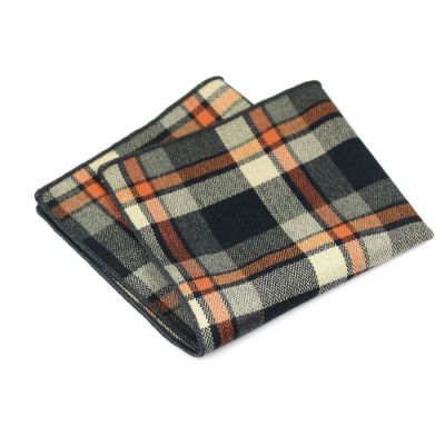 Oil, SeaShell, Night and Sedona Cotton Plaid Pocket Square