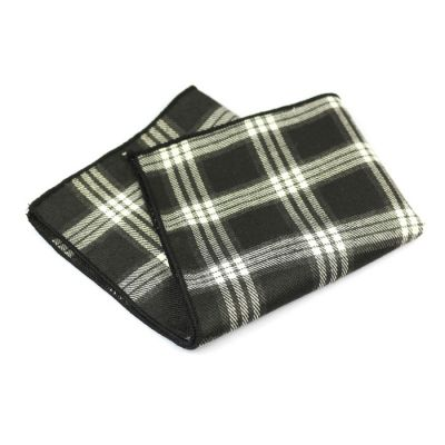Black, Shocking Orange and Platinum Cotton Plaid Pocket Square