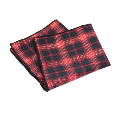Shocking Orange, Mahogany, Oil and Black Cotton Plaid Pocket Square