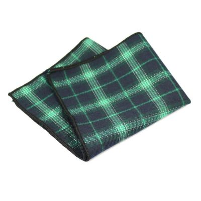 Black, Dark Slate Blue, Camouflage Green and SeaShell Cotton Plaid Pocket Square