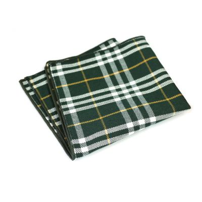 Platinum, Dark Sea Green and Avocado Green Cotton Plaid Pocket Square