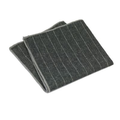 Gray Dolphin and Platinum Cotton Striped Pocket Square