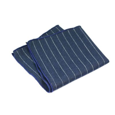 Earth Blue and Platinum Cotton Striped Pocket Square
