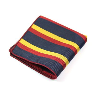 Shocking Orange, Midnight Blue and Yellow Polyester Striped Pocket Square