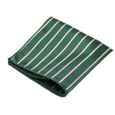 Tea Green, Dark Forest Green and Mahogany Polyester Striped Pocket Square