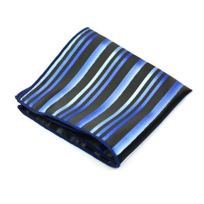 Blue Orchid, Coral Blue and Black Polyester Striped Pocket Square