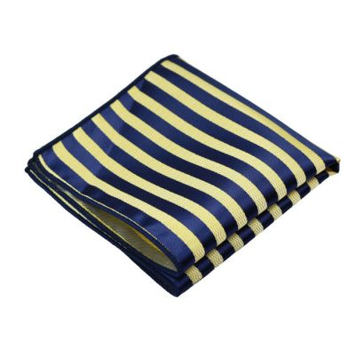 Tea Green and Denim Dark Blue Polyester Striped Pocket Square