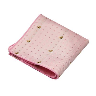 Hot Pink, Champagne and Platinum Polyester Novelty Pocket Square