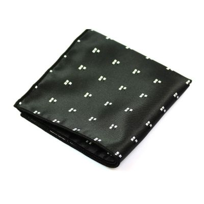 Gunmetal, Platinum and Black Polyester Novelty Pocket Square