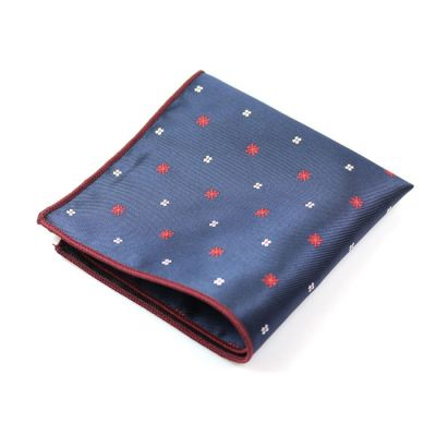 Midnight Blue, Shocking Orange and Platinum Polyester Novelty Pocket Square