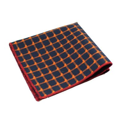 Midnight Blue, Dark Orange and Love Red Polyester Checkered Pocket Square
