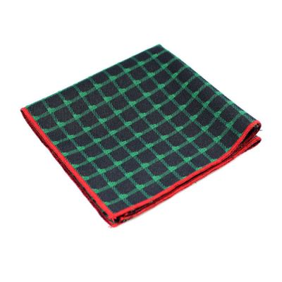 Love Red, Jungle Green and Midnight Blue Polyester Checkered Pocket Square