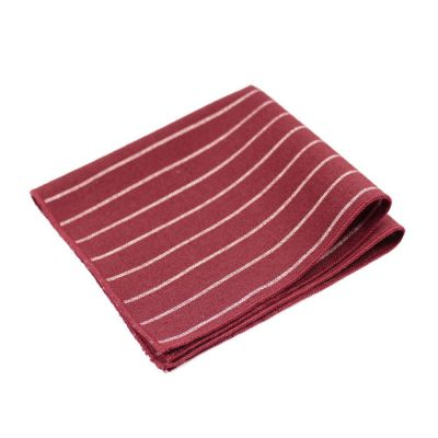 Burgundy and Platinum Polyester Striped Pocket Square