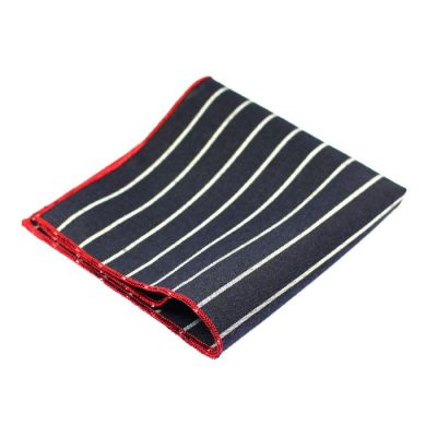 Gunmetal, Gray, Platinum and Love Red Polyester Striped Pocket Square