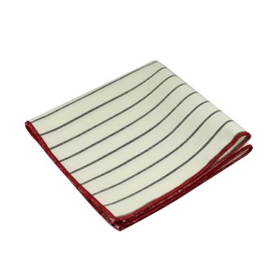 Love Red, Gunmetal and SeaShell Polyester Striped Pocket Square