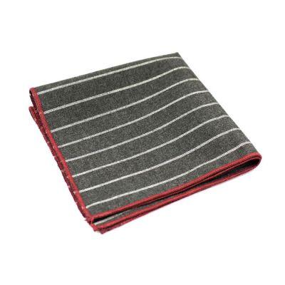 Burgundy, Gray and Gunmetal Polyester Striped Pocket Square