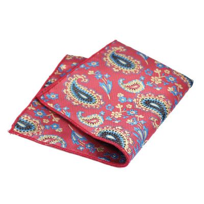Khaki Rose, Champagne, Blue and Midnight Polyester Paisley Pocket Square