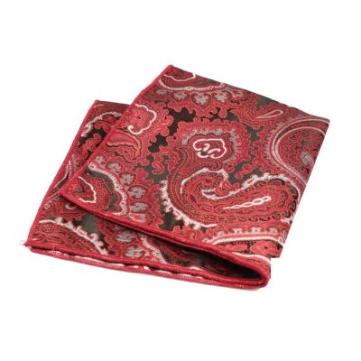 Mahogany, Platinum and Chilli Pepper Polyester Paisley Pocket Square