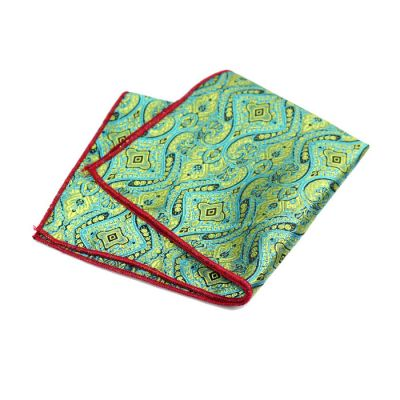 Love Red, Blue and Fern Green Polyester Paisley Pocket Square