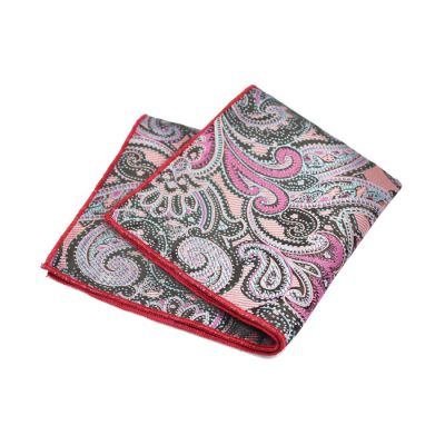 Love Red, Plum Velvet, Ferrari Red, SeaShell and Black Polyester Paisley Pocket Square