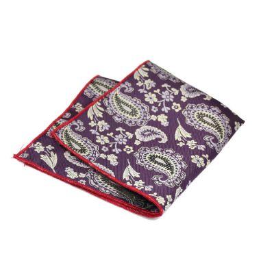 Love Red, Plum Velvet, SeaShell and Black Polyester Paisley Pocket Square