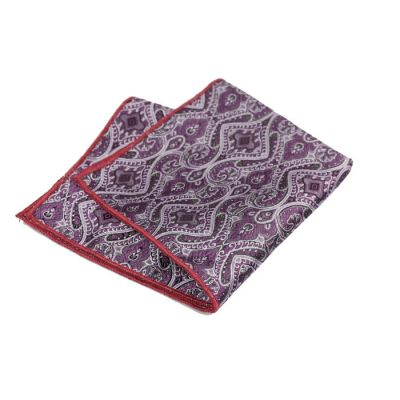 Red Wine, Mist Blue, Gunmetal and Platinum Polyester Paisley Pocket Square