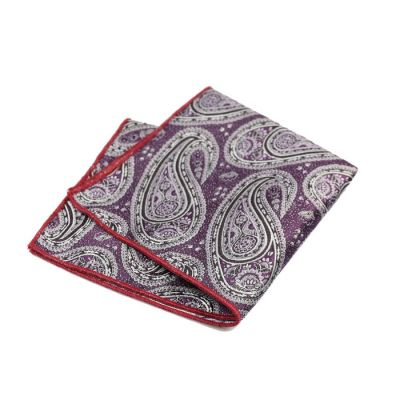 Love Red, Gunmetal, Mist Blue and SeaShell Polyester Paisley Pocket Square