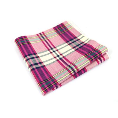 Tea Green, Hummingbird Green, Carnation Pink, Platinum, Gunmetal, Tangerine and Plum Velvet Cotton Plaid Pocket Square