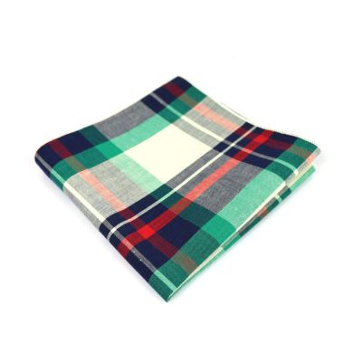 Grape, Army Brown, Gray Goose, Rosy Brown, Platinum and Midnight Blue Cotton Plaid Pocket Square