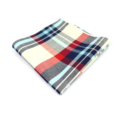 Gray Goose, Tangerine, Platinum, Light Sky Blue, Gunmetal and Midnight Blue Cotton Plaid Pocket Square