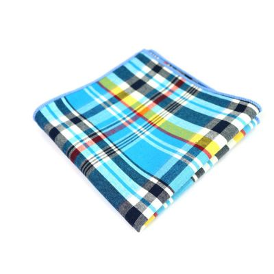 Blue, Bullet Shell, Light Sky Blue, Midnight Blue, Tangerine and Tea Green Cotton Plaid Pocket Square