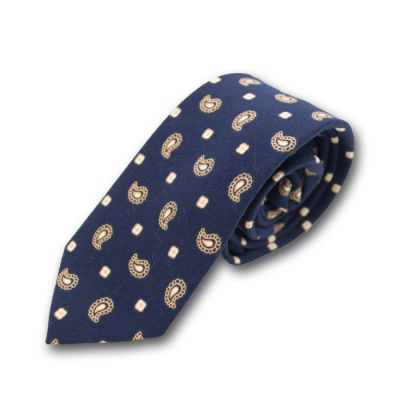 6cm Midnight Blue, Peach and White Cotton-Linen Blend Paisley Skinny Tie