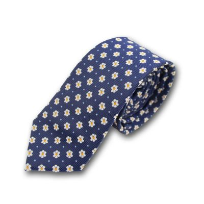 6cm Midnight Blue, Antique White and Wine Red Cotton-Linen Blend Floral Skinny Tie