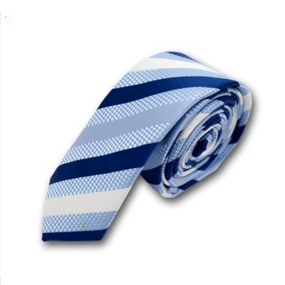 5cm Sky Blue, Denim Dark Blue and White Polyester Striped Skinny Tie