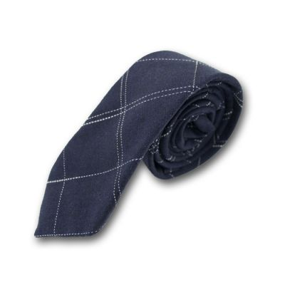 5cm Plum Pie and White Cotton-Linen Blend Checkered Skinny Tie