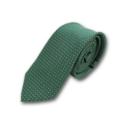 6cm Dark Forest Green and White Polyester Polka Dot Skinny Tie