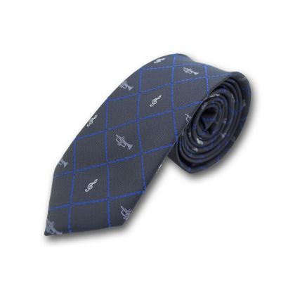 6cm Midnight Blue, Navy Blue and White Polyester Novelty Skinny Tie