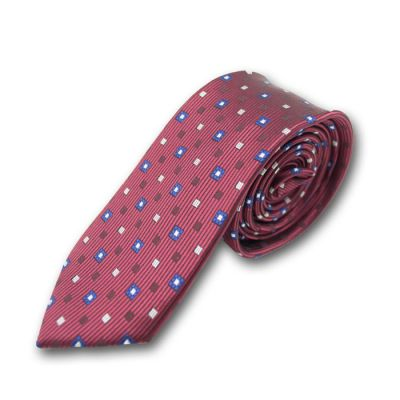 6cm Deep Pink, Purple, Plum Pie and White Polyester Polka Dot Skinny Tie