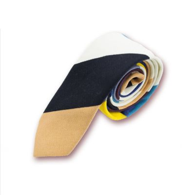 5cm Platinum, Slate Blue, Corn Yellow, Blue Eyes, Black and Bee Yellow Polyester Striped Skinny Tie