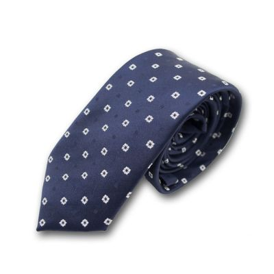 6cm Denim Dark Blue and White Polyester Polka Dot Skinny Tie